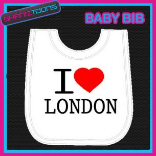I LOVE HEART LONDON WHITE BABY BIB EMBROIDERED - 160885383816